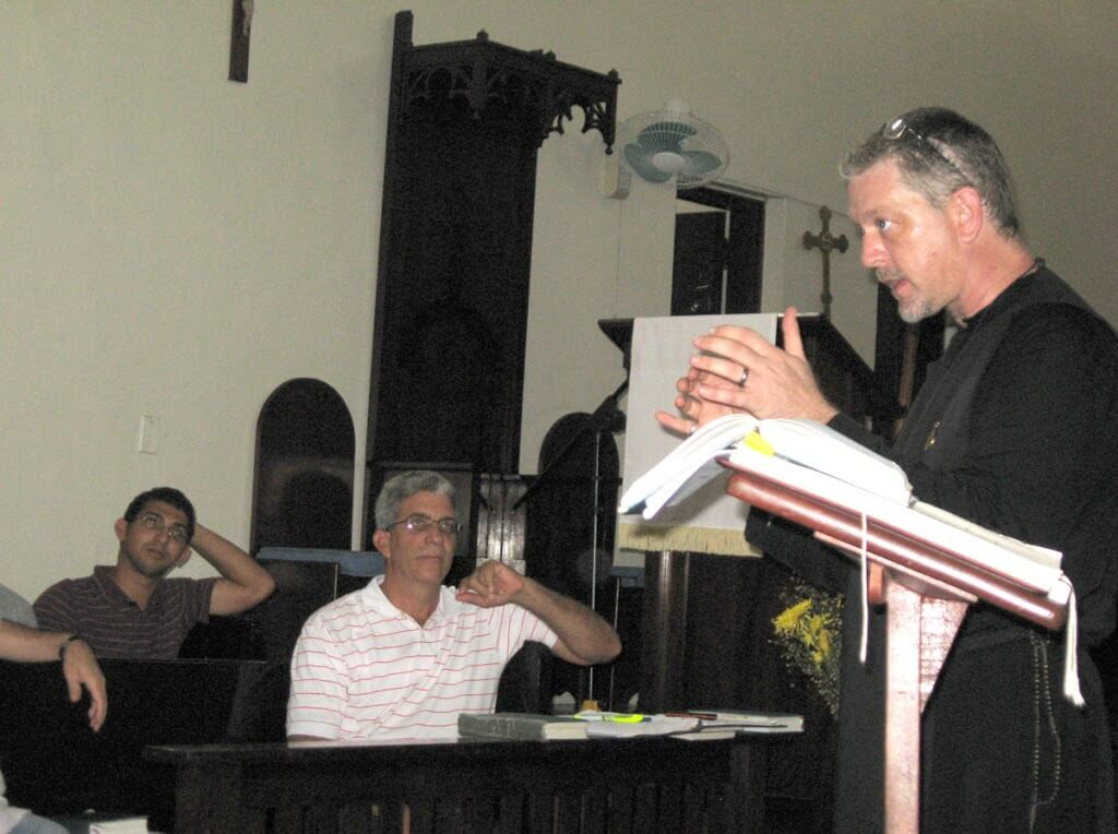Charles Todd from St. Paul's, Savannah, in a music class with seminarians in Santo Domingo.