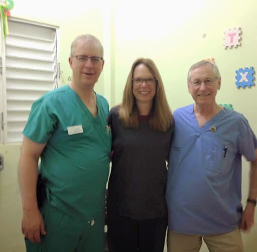 The optical doctors on this team, from left: Dr. Alan Peaslee, Optometrist; Dr. Henry Croci, Ophthalmologist; Dr. Sally Freeman, Optometrist.
