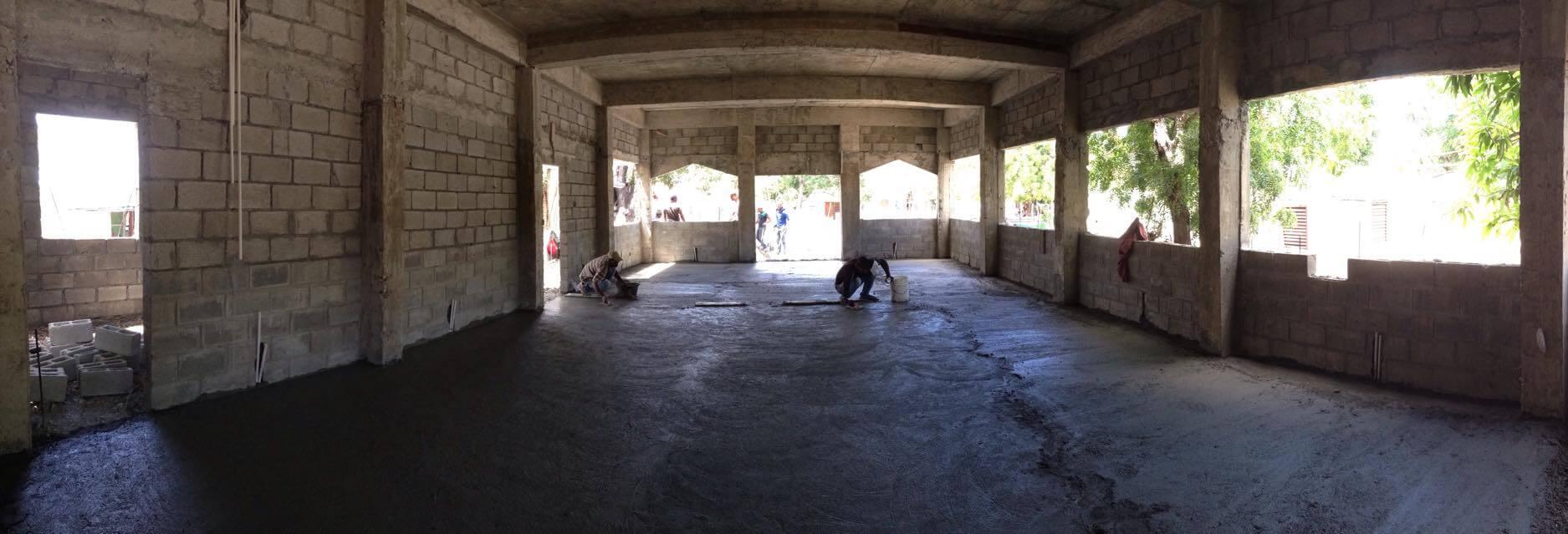 Preparing the church floor.