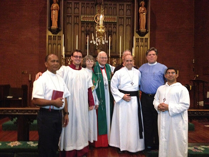 The Rt. Rev. William Skilton (center) with other participants in this preaching mission at St. Paul's.