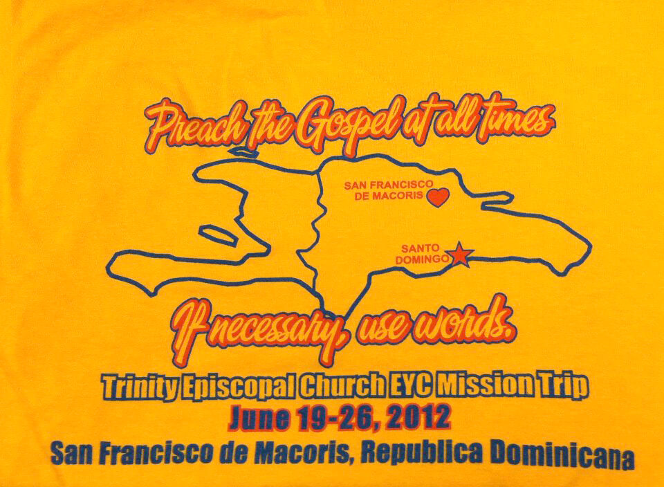 The design on the t-shirt worn by mission team members in San Francisco de Macorís in June 2012.