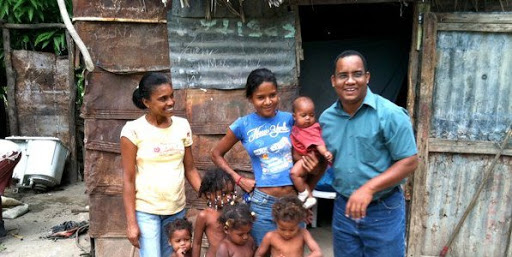 Padre Jesús Mosquea with some of the members of his three congregations in Azua.