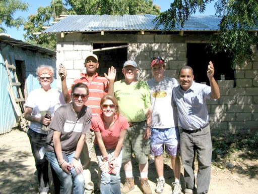 The members of the mission team from St. Patrick's, Albany, with the local construction chief and Fr. Jesús Mosquea in Azua, January 2012.